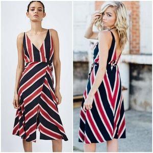 Topshop Celebrity Multi Stripe Wrap Dress, Size 8